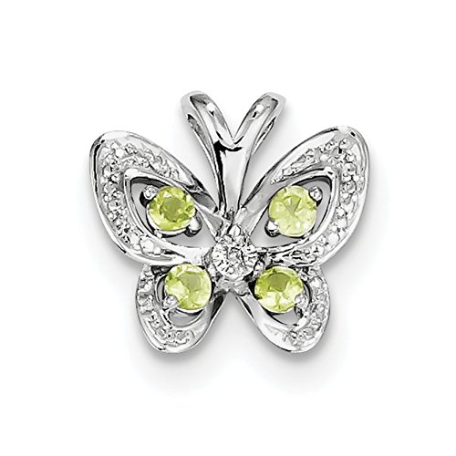 925 Sterling Silver Rhodium Plated Peridot Diamond Pendant Fine Jewelry Ideal Gifts For Women