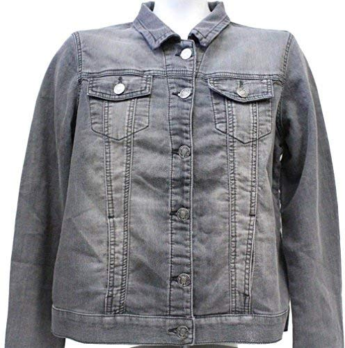 Buffalo David Bitton Women's Knit Stretch Denim Jean Jacket (Grey, Medium)