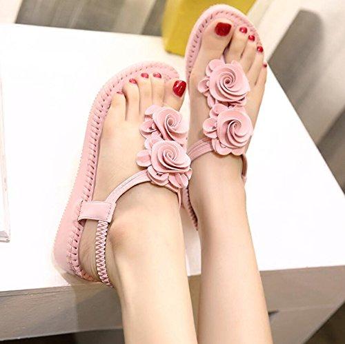 KHSKX-Rosa 4Cm Verano Pendiente Con Sandalias Zapatos De Mujer Floral Bizcocho Chica Sandalias De Tacón Sandalias Gruesas 38