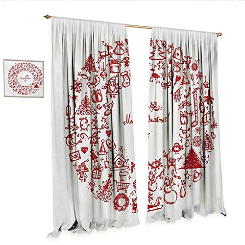 WinfreyDecor Christmas Decorative Curtains for Living Room Vintage Merry Xmas Wreath with Several Noel Yule Icons and Ribbons Candles Bells Image Room Darkening Wide Curtains W108 x L96 Red.jpg