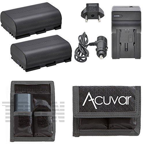2 LP-E6 LP-E6N Rechargeable Batteries for Canon 5D Mark II, 5D Mark III, 6D, 7D, 60D & 70D Camera + Car / Home Charger + Acuvar Battery Pouch