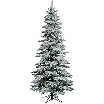 vickerman flocked slim utica tree with 300 led light 65 feet by 39 - Christmas Tree Slim