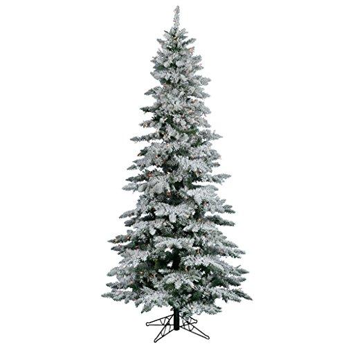 Vickerman Flocked Slim Utica Tree with Dura-Lit 300 Light, 6.5-Feet by 39-Inch, Mulitcolored
