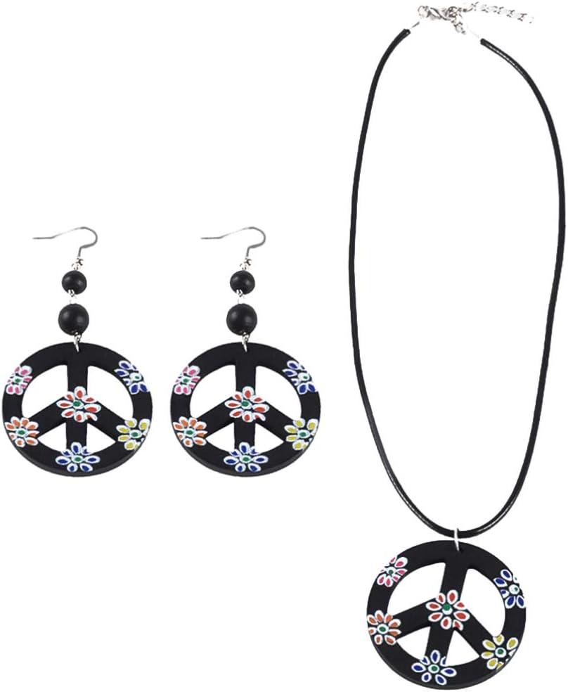 TOYANDONA Conjunto de Traje Hippie Pendiente de Collar de Signo de La Paz para Mujeres Lady 60S O 70S Accesorios de Vestir Hippie Estilo de Vestir Retro 1 Juego
