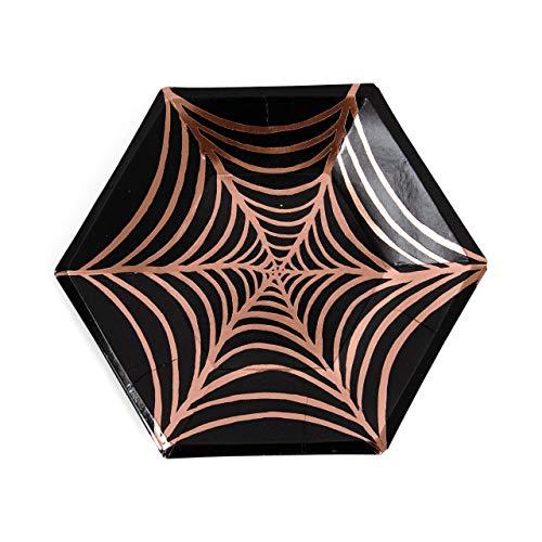 8pc Copper Foiled Black Spider Web Plate -