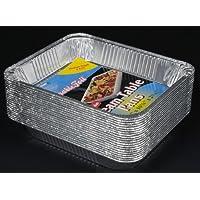 "Durable Packaging Aluminum Steam Table Pans, Half-Size, Medium, 12-3/4"" Length x 10-3/8"" Width x 2-3/16"" Depth (5 Bags…"