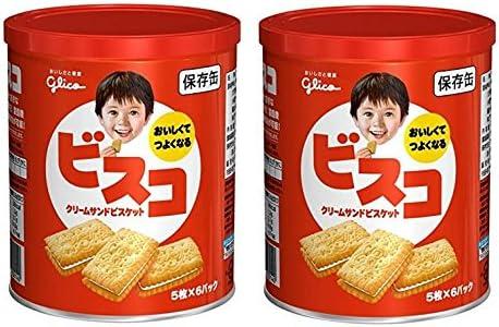 江崎グリコ ビスコ 保存缶 30枚 × 2缶