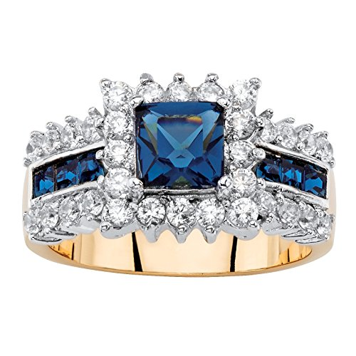 Jewelry Sapphire Zirconia Cubic (Seta Jewelry Sapphire Blue Crystal and Cubic Zirconia 14k Gold-Plated Halo Cocktail Ring)