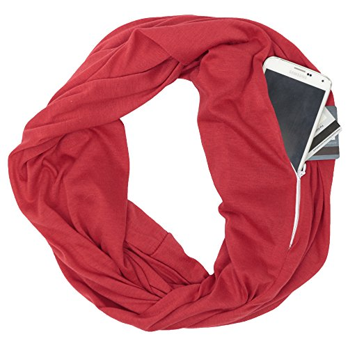 (Solid Color Red Infinity Scarf Womens Fashion Scarf Zipper Pocket - Pop Fashion)