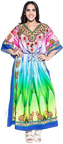 LA LEELA Trajes de baño del Traje de baño del Vestido caftán caftán Camisa de Dormir Aloha rayón Mano Maxi de Las Mujeres Multicolor_v543