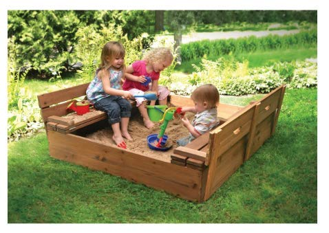 Sandbox with Fold Bench Seats for Children - Very Sturdy and Strong Child Outdoor Backyard Toy - Solid Construction Wood Covered and Convertible Play Area