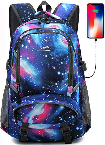 Backpack For School College Student Bookbag Travel Business With USB Charging Port Laptop Compartment Chest Straps Night Light Reflective Anti theft - Backpack School
