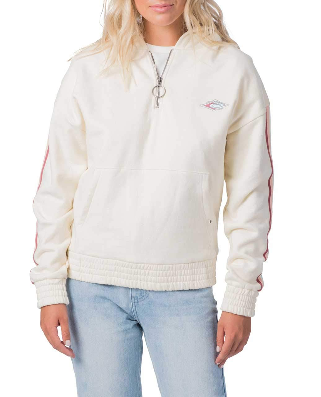 Beige Rip Curl Women's Barrel 1 4 Zip Hood