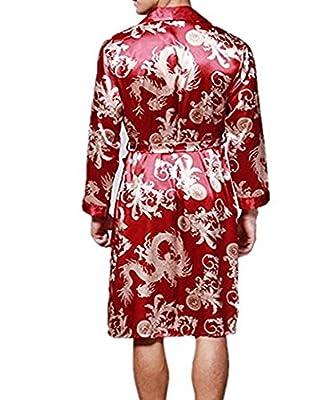 FashionRun Men's Silk Nightwear Bath Robes Short Kimono Robes Dragon Pattern