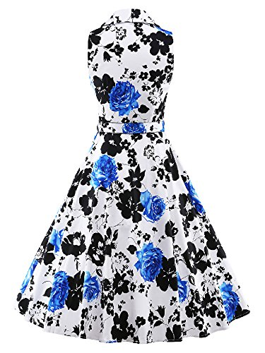 LUOUSE 50s Vestidos Vintage Retro Rockabilly Clásico con cinturón fino V048-Azul1