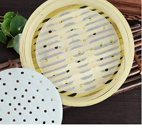 500Pcs Perforated Parchment Paper for Air Fryer- Perforated Parchment Steaming Papers Round- Dim Sum Paper Tray- Steamer Paper Liners for Steaming Basket - Dim Sum Paper Restaurant Kitchen (4 Inch)