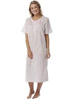 ca2a1fc542 Ladies Pink seersuckers Short Sleeve Nightdress Floral Embroidery Slip  Nightie Plus Sizes 8 10 12 14