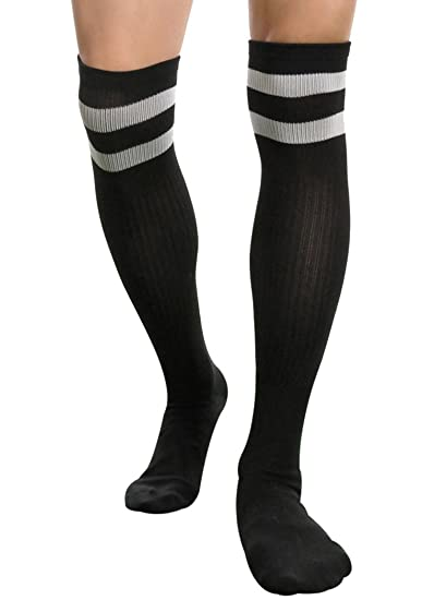 77a1eaf4f Mens Striped Over Knee Long High Soccer Basketball Running Rugby Atheletic  Socks (Black)