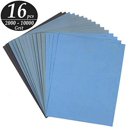 (ADVcer 9x11 inch 16 Sheets Sandpaper, Wet or Dry 2000-10000 Grit 8 Assortment Sand Paper, Super Fine Abrasive Pads for Automotive Sanding, Wood Turing Finishing, Metal Furniture Polishing and More)