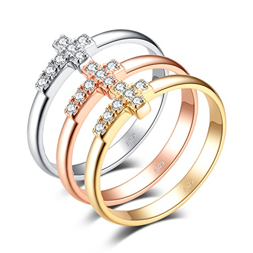 JewelryPalace Fashion 0.34ct Cubic Zirconia Cross Set of Three Bands Rings 925 Sterling Silver Size 9 ()