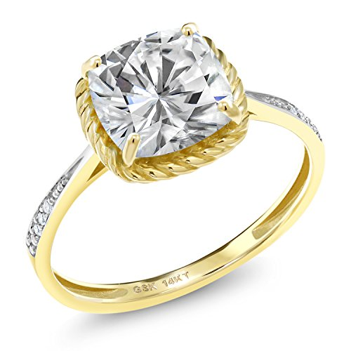 14K Yellow Gold Solitaire w/Accent Stones Engagement Ring Forever One (GHI) Cushion 2.40ct (DEW) Created Moissanite by Charles & Colvard and Diamond (Size ()
