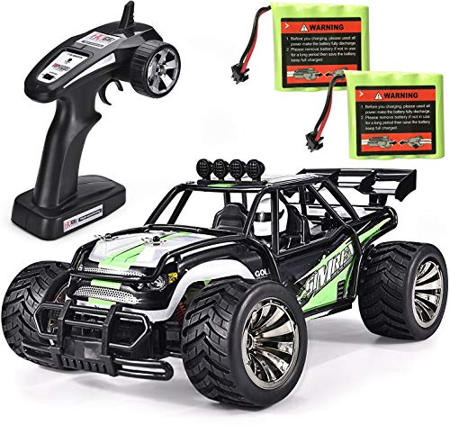 High Speed 20MPH Scale RTR Remote Control Brushed Monster Truck Off Road Car Big Foot RC 2WD Electric Power Buggy W/2.4G Challenger Green ()