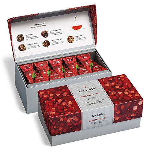 Joy Box (Tea Forté WARMING JOY Presentation Box Featuring Seasonal & Festive Tea Blends - 20 Handcrafted Pyramid Tea Infusers (Red and Silver))