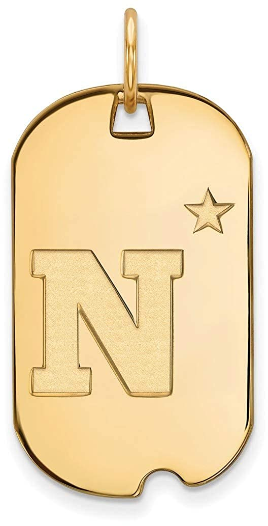 Gold-Plated Sterling Silver Navy Small Dog Tag by LogoArt GP007USN
