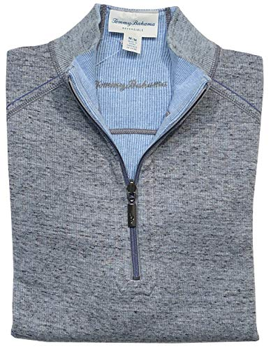 Tommy Bahama Men's Flipsider Reversible Half-Zip Sweatshirt - Meteor Grey HTHR (Clearance Bahama Big Tall Tommy And)