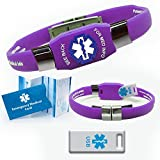 #10: Waterproof ELITE USB purple silicone medical alert ID bracelet with 2 GB USB