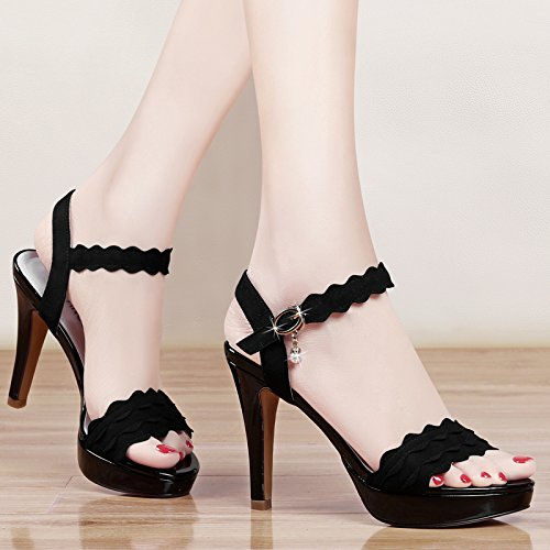Heel Summer Sandals High VIVIOO Soled Women Heel High Nightclubs black Heels Shoes Summer Open Thick Sandals Stiletto Toe Platforms FvqAXznv