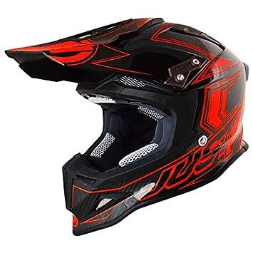 Just 1 Helmets J12 Casco de Motocross, Negro/Rojo, XS
