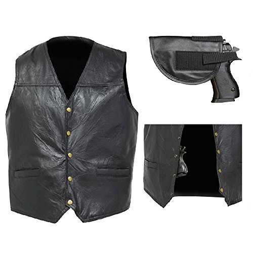 Biker Vest Concealed Carry Genuine Leather Motorcycle CCW w/Gun Holster (M)