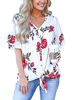 mouzzy Womens Floral Print Tie Front Tops Ruffle Short Sleeve Casual Blouse