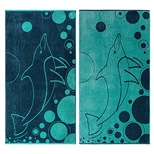 - Superior 100% Egyptian Cotton, 450 GSM, Mystic Dolphin Oversized Beach Towel (Set of 2) 34