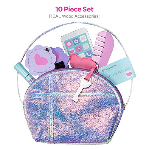 Adora Pretend Play Big Girl Purse Set, 10-Pieces, Real Wooden Accessories (Phone, Lipstick, Mirror, Brush, Credit Card, Key and Comb)