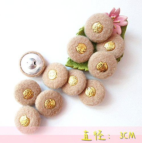 (Clothing materials manual DIY material camel wool cloth coat gold button 15 membered 3cm 3 for Sewing Crafts Handmade Clothes DIY)