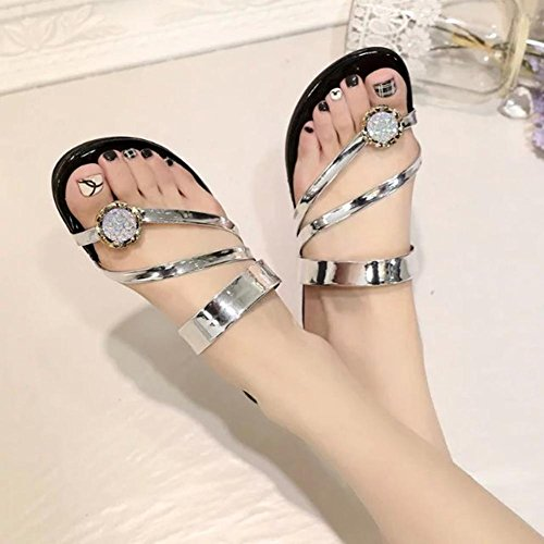 zapatos casuales de playa sandalias de tiras estudiantes con diamantes de imitación zapatos planos flip Silver