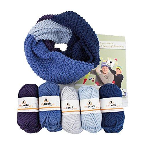 myboshi No.1 Loop-Schal Strickset pflaume, silber, blaubeere, Himmelblau, marine, 5x 50g Wolle, Anleitung, Label