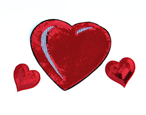 (Sequin Heart Patch Set - Valentine's Day Heart Appliques - by Opal & Ivy)