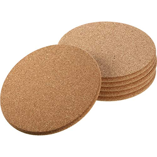 Thick Tan Wooden Cork Drink Coasters, Round Circle Cork Trivets Cork Drink Coasters (0.3