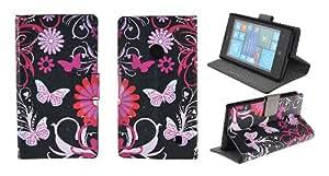 Kit Me Out ES ® Funda estampada apertura lateral cuero sintético + Cargador para coche + Protector de pantalla con gamuza limpiadora de microfibra para Nokia Lumia 525 - Negro, rosa Jardín