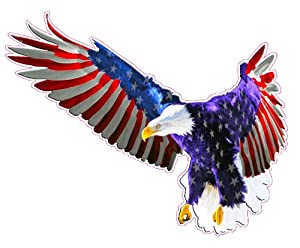 Amazon Com Flying American Flag Eagle Decal Large 11 Quot X 9