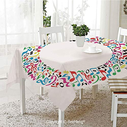 (Spring and Easter Dinner Tablecloth,Kitchen Table Decoration,Letter Q,The Letter Q Alphabet Design in Music Pattern Vibrant Signs Graphic Style Image Decorative,Multicolor,59 x 83 inches)