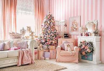 leowefowa 7x5ft christmas backdrop vinyl photography background xmas decoration tree fireplace sofa pink curtain carpet stripes