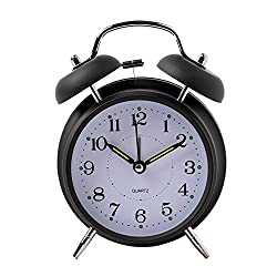 Kaimao 4 Twin Bell Alarm Clock No Ticking Analog Quartz Alarm,Battery Operated with Nightlight and Snooze Function for Bedroom(Black)