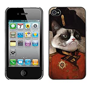Qstar Arte & diseño plástico duro Fundas Cover Cubre Hard Case Cover para Apple iPhone 4 / iPhone 4S / 4S ( Cat Angry Face Siamese Pink Nose General Art)