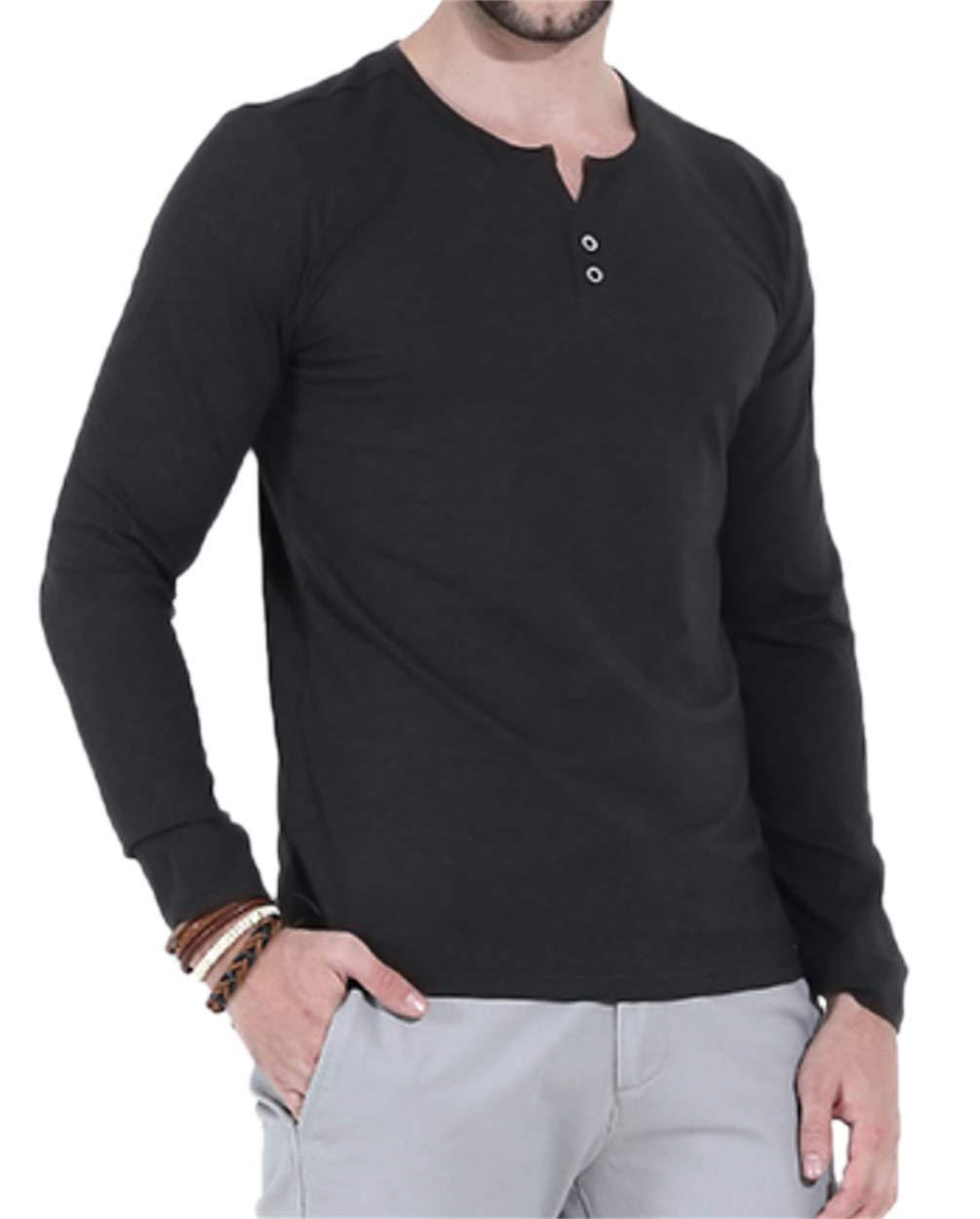 Aiyino Mens Casual Slim Fit Long Sleeve Henley T-Shirts Cotton Shirts US M-C Black