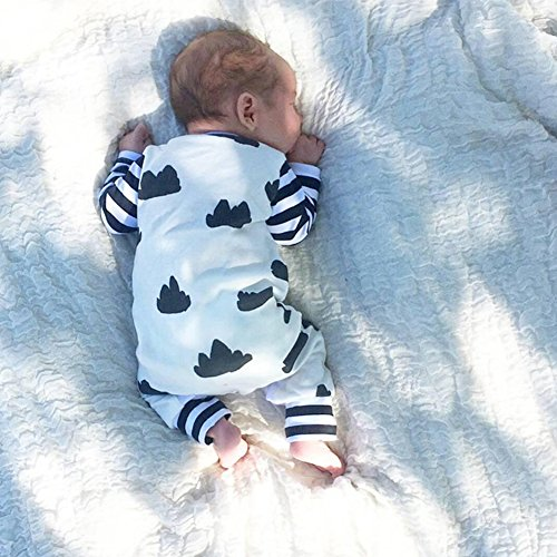 FlyBear Newborn Baby Boy Girl Warm Long Sleeve Bodysuit Romper Outfits Jumpsuit Clouds Printed Stripes Clothes 3 Months
