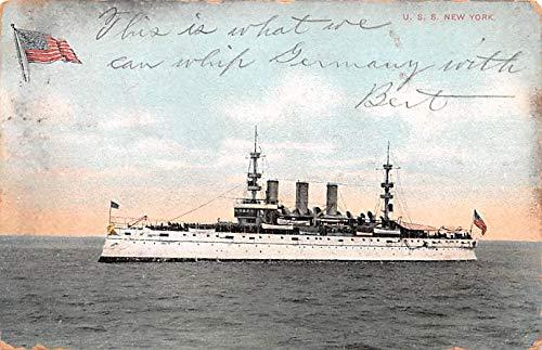 Military Battleship Postcard, Old Vintage Antique Military Ship Post Card USS New York 1910